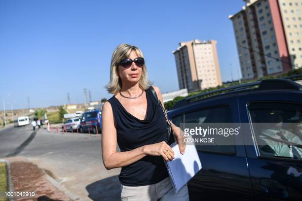 Norine Brunson wife of US pastor Andrew Brunson who is detained in Turkey for over a year on terror charges arrives for the trial of her husband in...