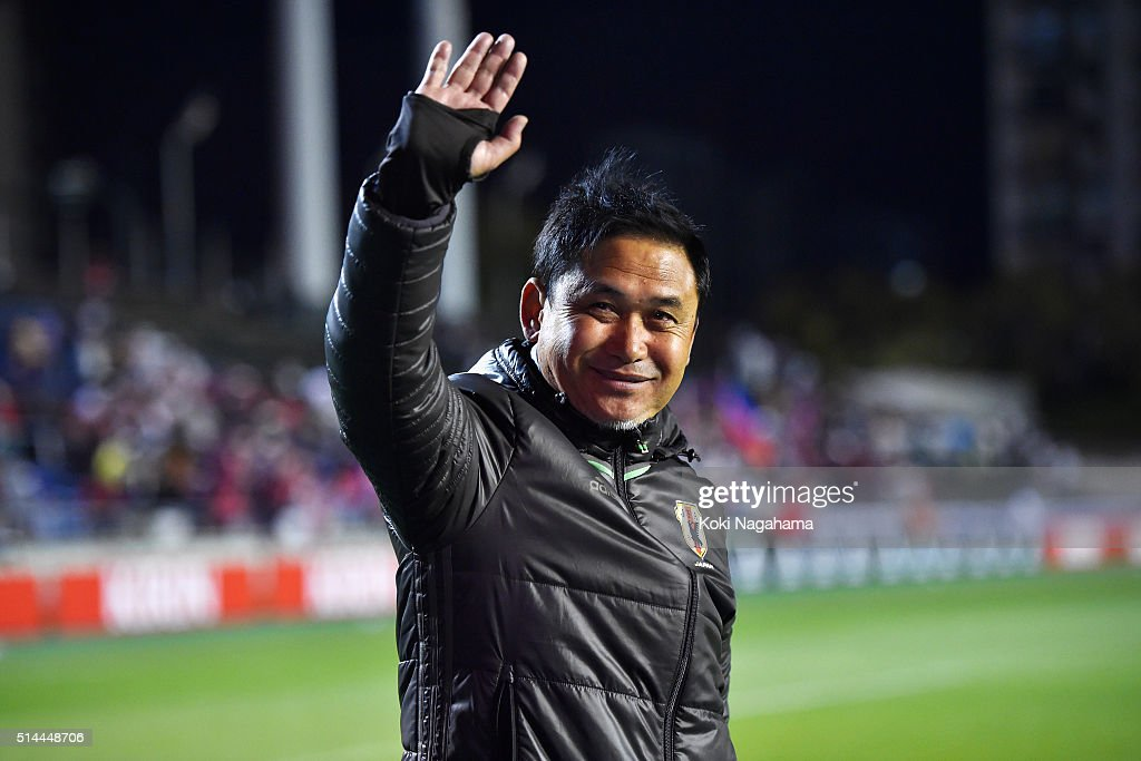 Norio Sasaki head coach of Japan applauds supporters after the AFC Women's Olympic Final Qualification Round match between Japan and North Korea at Kincho Stadium on March 9, 2016 in Osaka, Japan.