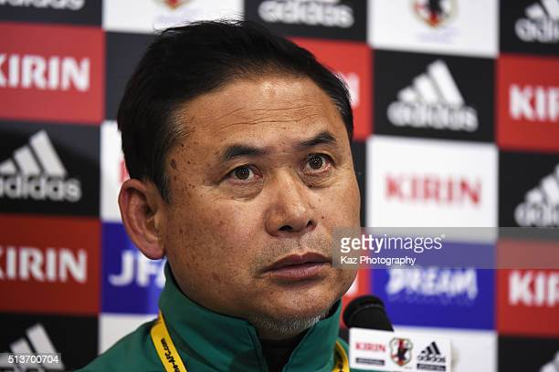 Norio Sasaki head coach of Japan attends a press conference after his team's 12 defeat in the AFC Women's Olympic Final Qualification Round match...