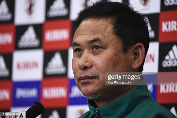 Norio Sasaki head coach of Japan attends a press confernce after the AFC Women's Olympic Final Qualification Round match between Japan and North...