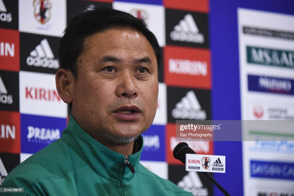 Norio Sasaki head coach of Japan attends a press confernce after the AFC Women's Olympic Final Qualification Round match between Japan and North Korea at Kincho Stadium on March 9, 2016 in Osaka, Japan.