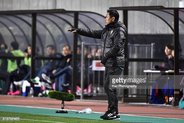 Norio Sasaki head coach of Japan gestures during the AFC Women's Olympic Final Qualification Round match between Japan and China at Kincho Stadium on...
