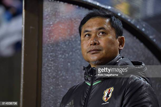 Norio Sasaki head coach of Japan looks on prior to during the AFC Women's Olympic Final Qualification Round match between Japan and North Korea at...