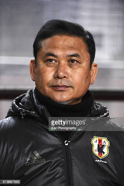 Norio Sasaki head coach of Japan looks on prior to the AFC Women's Olympic Final Qualification Round match between Japan and China at Kincho Stadium...