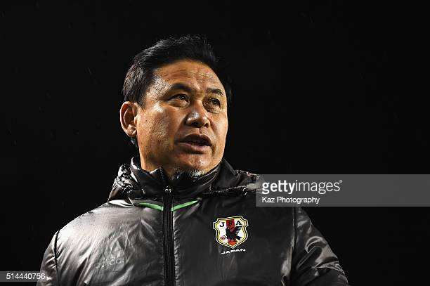 Norio Sasaki head coach of Japan looks on prior to the AFC Women's Olympic Final Qualification Round match between Japan and North Korea at Kincho...