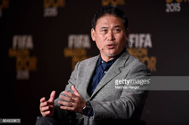 Norio Sasaki head coach of the Japan women national football team speaks to the media during the FIFA Ballon d'Or Gala 2015 at the Kongresshaus on...