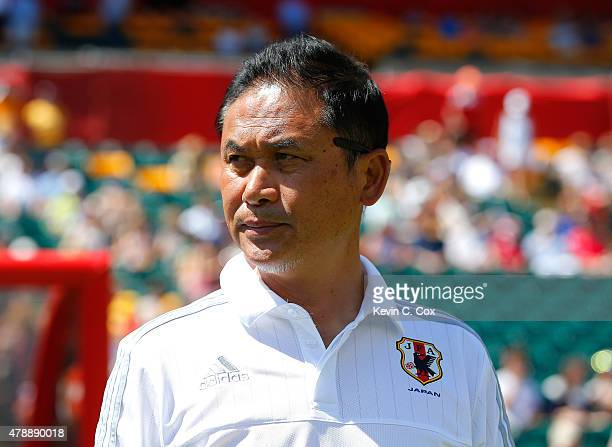 Norio Sasaki of Japan looks on prior to the FIFA Women's World Cup Canada 2015 Quarter Final match between Australia and Japan at Commonwealth...