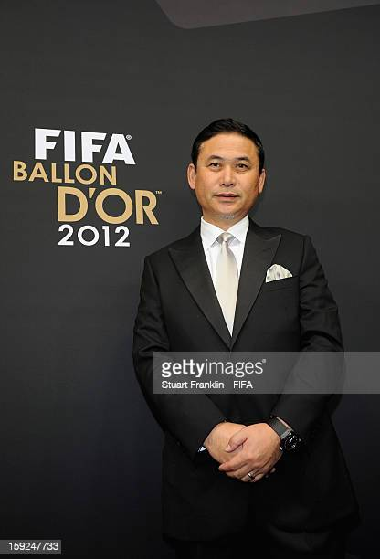 Norio Sasaki of Japan poses for photographs on the red carpet during the FIFA Ballon d'Or Gala 2012 at the Kongresshaus on January 7 2013 in Zurich...