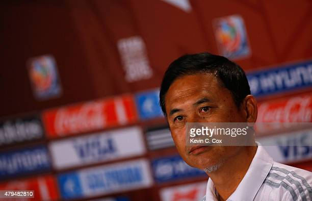 Norio Sasaki of Japan speaks to the media during a press conference prior to the FIFA Women's World Cup Canada 2015 Final between the United States...