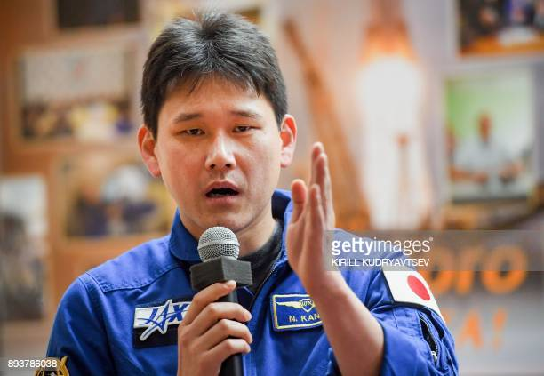 Norishige Kanai of the Japan Aerospace Exploration Agency takes part in a press conference at the Russianleased Baikonur cosmodrome in Kazakhstan on...