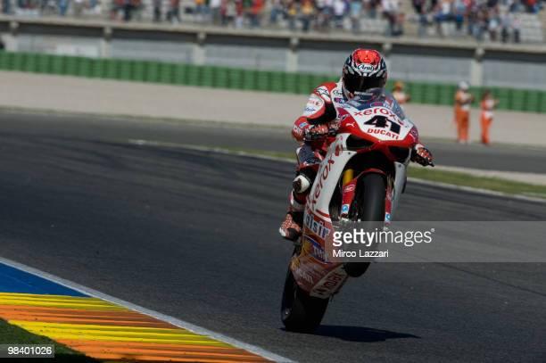 Noriyuki Haga of Japan and Ducati Xerox celebrates victory at the end of race 2 of the Superbike Grand Prix Of Valencia at Comunitat Valenciana...