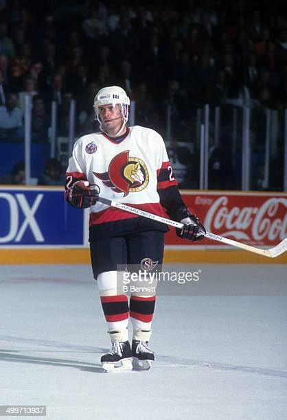 Norm Maciver of the Ottawa Senators skates on the ice during an NHL game in October 1992 at the Ottawa Civic Centre in Ottawa Ontario Canada