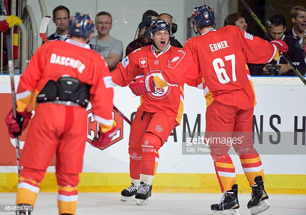 Norm Milley and Bernhard Ebner of the Duesseldorfer EG celebrate after scoring the 42 during the game between Duesseldorfer EG and Black Wings Linz...