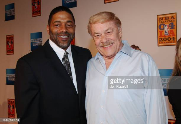 Norm Nixon and Dr Jerry Buss arriving at the Official TipOff to NBA AllStar 2004 Entertainment American Express Celebrates the Rewarding Life of...
