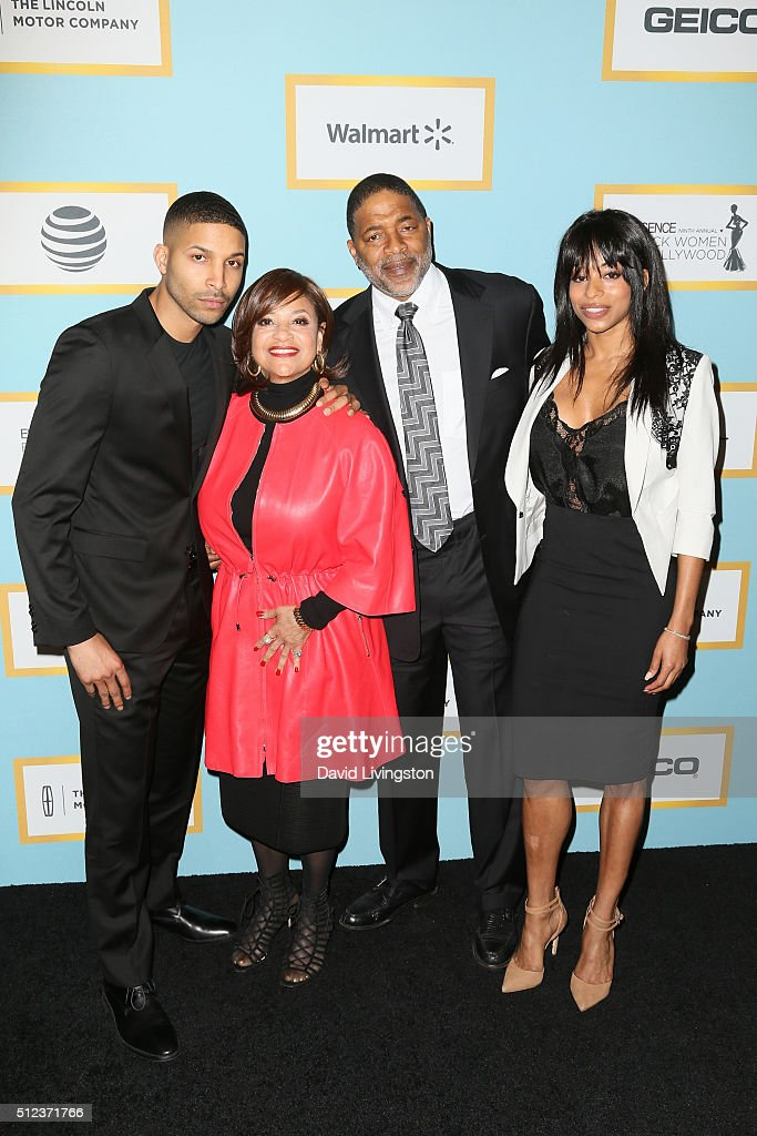 Norm Nixon Jr, Debbie Allen, Norm Nixon and Vivian Nixon arrive at the Essence 9th Annual Black Women event in Hollywood at the Beverly Wilshire Four Seasons Hotel on February 25, 2016 in Beverly Hills, California.