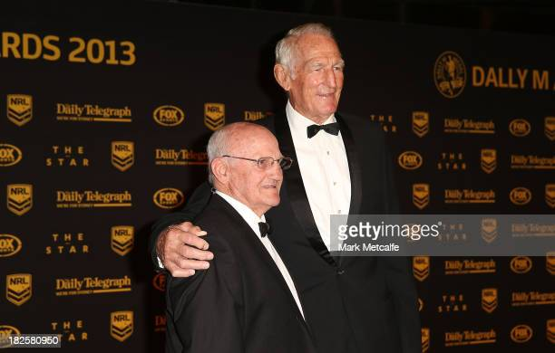 Norm Provan and Arthur Summons arrive ahead of the 2013 Dally M Awards at Star City on October 1, 2013 in Sydney, Australia.