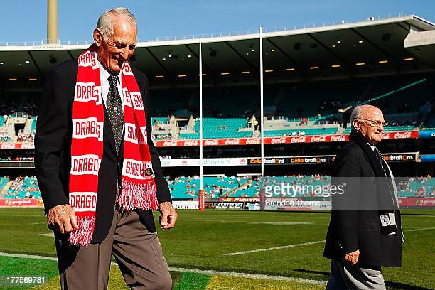 Norm Provan and Arthur Summons attend the round 24 NRL match between the St George Illawarra Dragons and the Wests Tigers at Sydney Cricket Ground on...