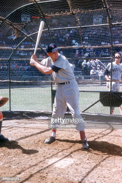 Norm Zauchin of the Boston Red Sox takes batting practice before an MLB Spring Training game against the New York Yankees circa March 1956 in Florida