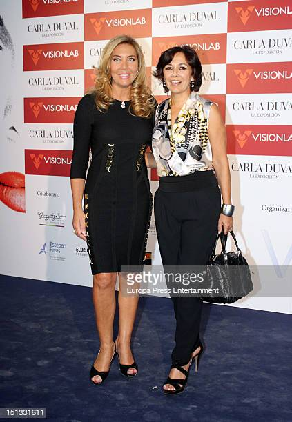 Norma Duval and Isabel Gemio attend the painting exhibition of Carla Duval at Casa de Vacas on September 5 2012 in Madrid Spain