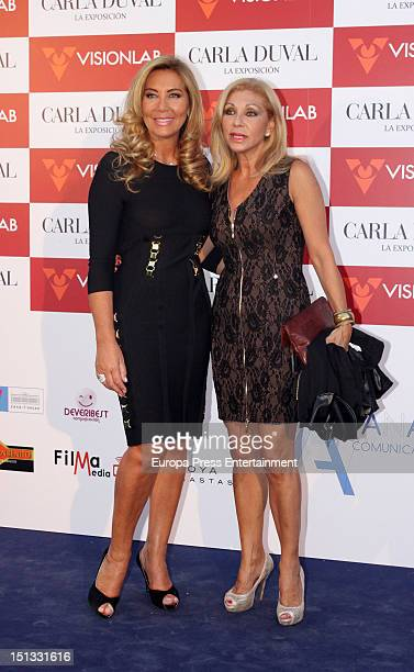 Norma Duval and Jenny Llada attend the painting exhibition of Carla Duval at Casa de Vacas on September 5 2012 in Madrid Spain