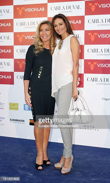 Norma Duval and Juncal Rivero attend the painting exhibition of Carla Duval at Casa de Vacas on September 5 2012 in Madrid Spain