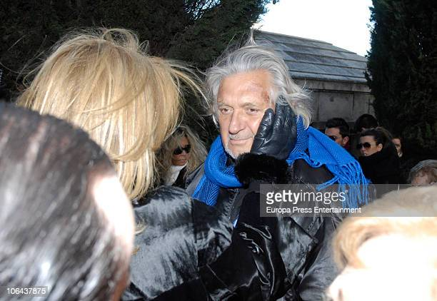 Norma Duval and Marc Ostarcevic attend the funeral for Carla Duval sister of vedette Norma Duval at San Isidro Cementery on November 1 2010 in Madrid...