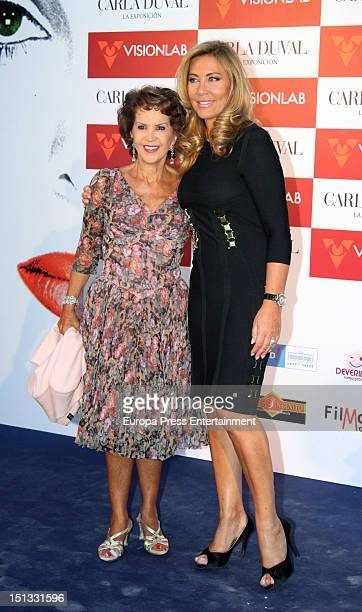 Norma Duval and Maria Rosa attend the painting exhibition of Carla Duval at Casa de Vacas on September 5 2012 in Madrid Spain