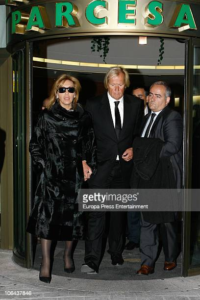 Norma Duval and Mathias Kuehn attend the funeral for Carla Duval sister of vedette Norma Duval at San Isidro Cementery on November 1 2010 in Madrid...