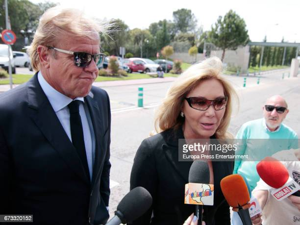 Norma Duval and Matthias Kühn attend the funeral chapel for the bullfighter Sebastian Palomo Linares on April 25 2017 in Madrid Spain