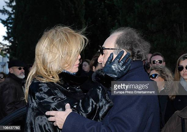 Norma Duval and Santiago Paredes attend the funeral for Carla Duval sister of vedette Norma Duval at San Isidro Cementery on November 1 2010 in...