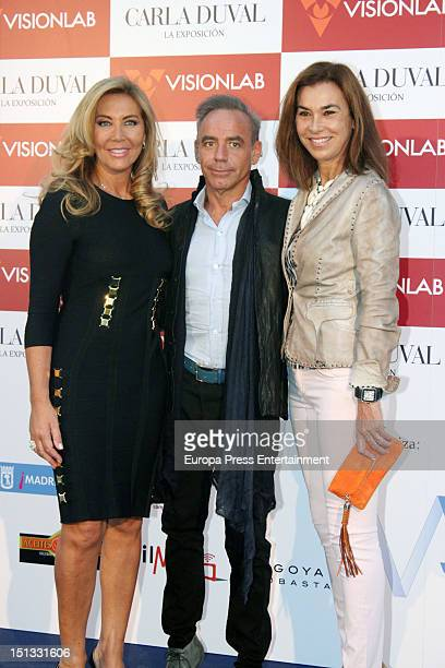 Norma Duval Joaquin Torres and Carmen Posadas attend the painting exhibition of Carla Duval at Casa de Vacas on September 5 2012 in Madrid Spain
