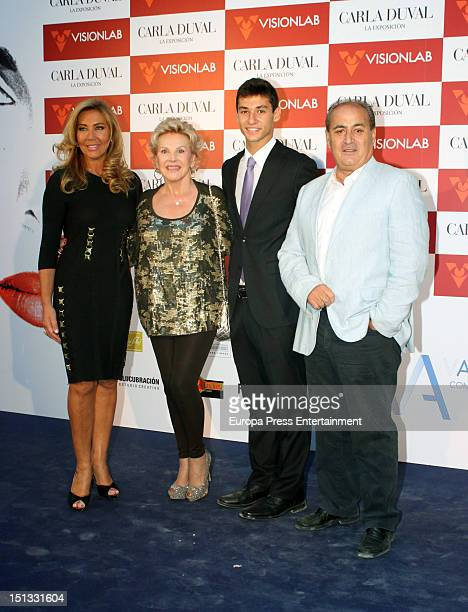Norma Duval Marili Coll and Christian Ostarcevic attend the painting exhibition of Carla Duval at Casa de Vacas on September 5 2012 in Madrid Spain