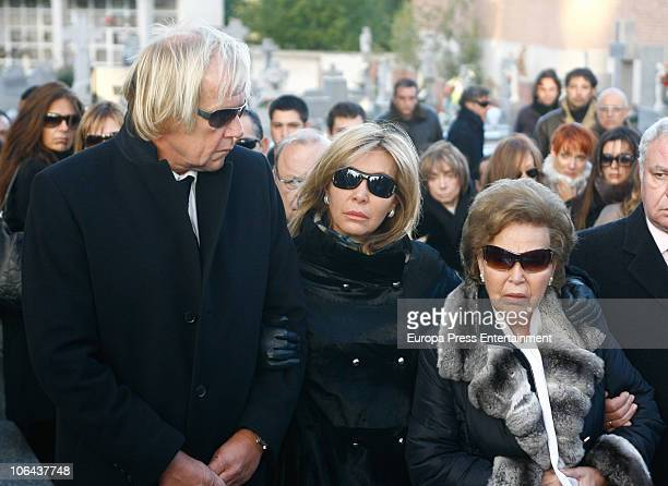 MADRID NOVEMBER 01 Norma Duval Mathias Kuehn and Purificacion Aguilera attend the funeral for Carla Duval sister of vedette Norma Duval at San Isidro...