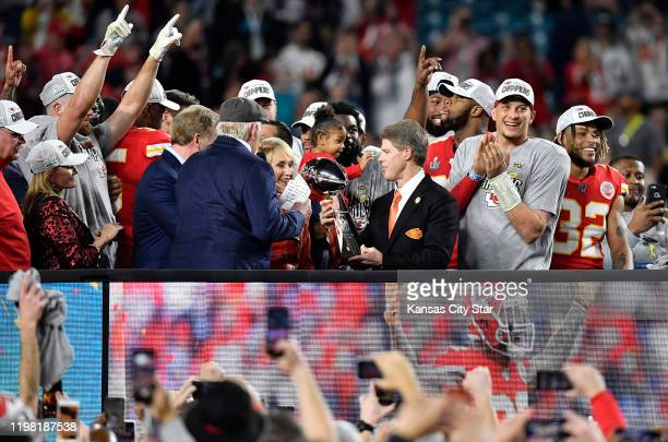 Norma Hunt and Clark Hunt Kansas City Chiefs Owner and CEO quarterback Patrick Mahomes and other players the team's 3120 victory in Super Bowl LIV...