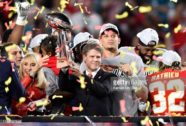 Norma Hunt lookS on as her son Clark Hunt Kansas City Chiefs Owner and CEO hoistS the Vince Lombardi Trophy after the team's 3120 victory in Super...