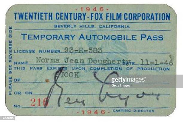 Norma Jean Dougherty's temporary parking pass for Twentieth Century Fox studios from 1946, with stamped signature of casting director Ben Lyon, who...