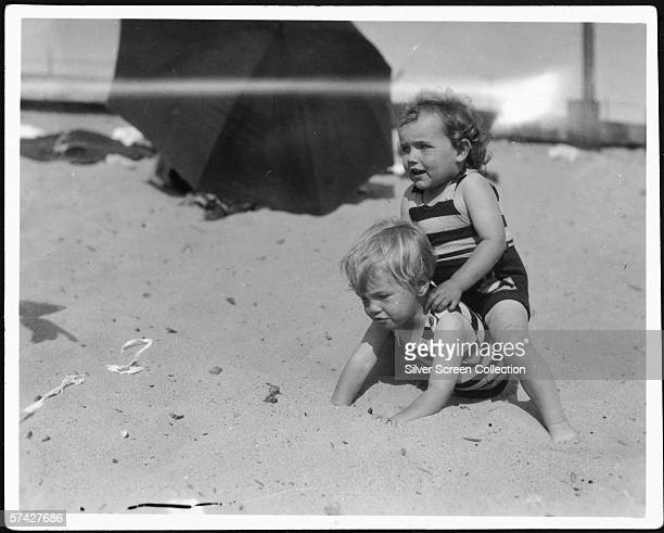 Norma Jeane Baker future film star Marilyn Monroe on the beach as a toddler circa 1929