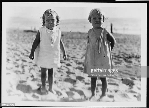 Norma Jeane Baker future film star Marilyn Monroe on the beach as a small child circa 1930