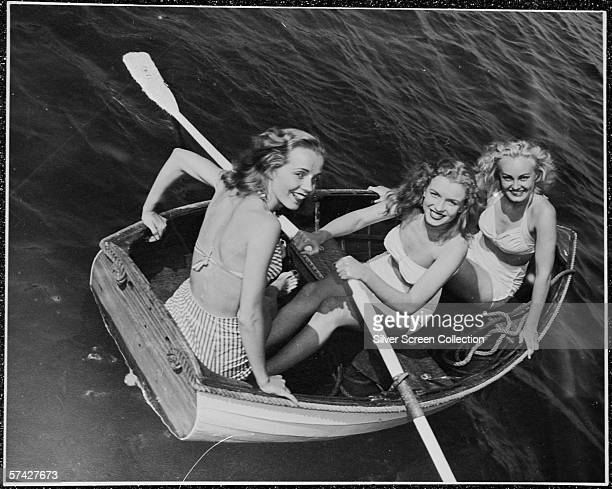 Norma Jeane Baker future film star Marilyn Monroe out rowing with a couple of friends circa 1941