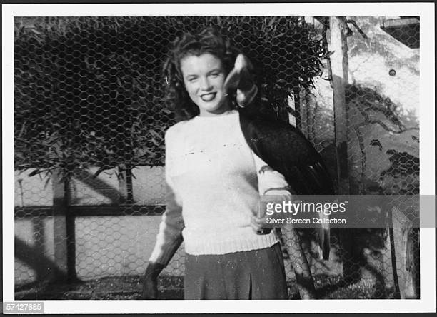 Norma Jeane Baker future film star Marilyn Monroe with a hornbill on her arm circa 1941