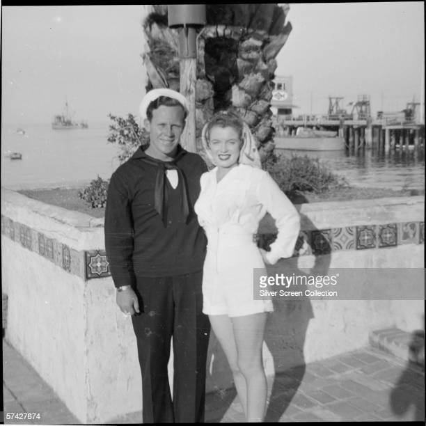 Norma Jeane Baker future film star Marilyn Monroe with her first husband Merchant Marine James Dougherty in Avalon Santa Catalina Island circa 1943...