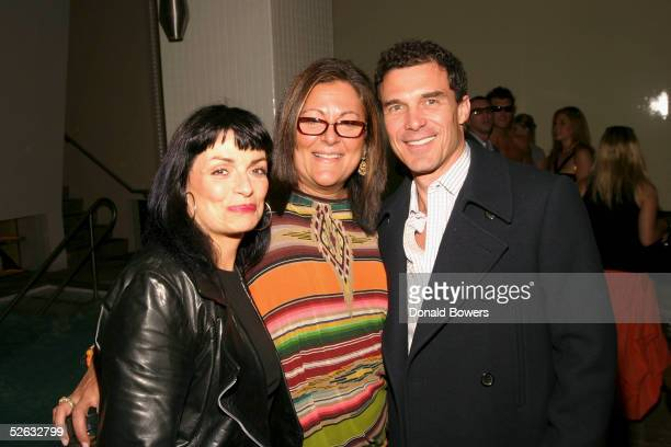 Norma Kamali Fern Mallis and Andre Balazs attend the 7 on Sixth party to launch Sunglass Hut's swim shows April 14 2005 in New York City