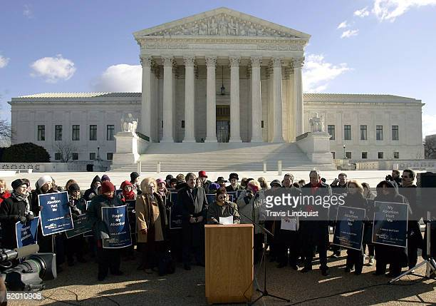 Norma McCorvey the former Roe of Roe vWade speaks on the steps of the US Supreme Court on January 18 2005 in Washington DC McCorvey along with the...