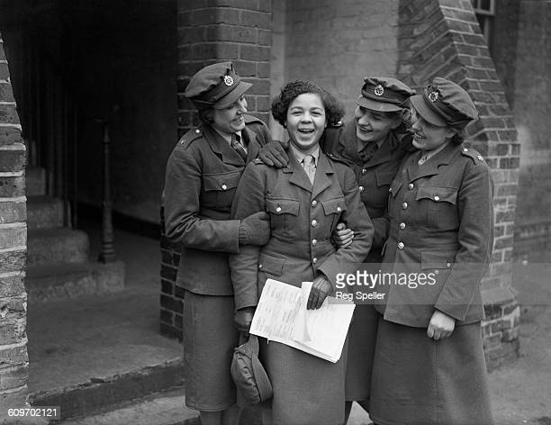 Norma Quaye with fellow members of the British Auxiliary Territorial Service 19th December 1939 At this time Quaye was the only black member of the...