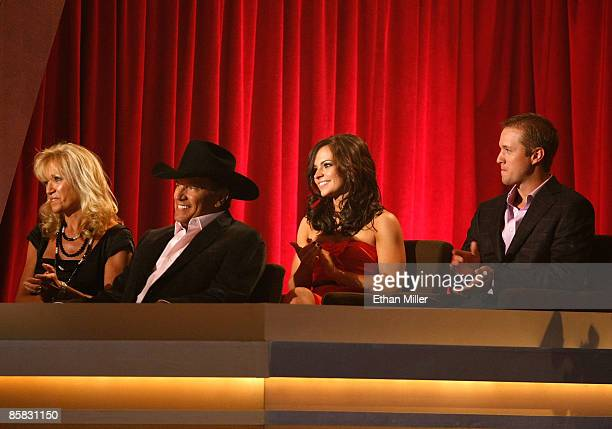 Norma Strait honoree George Strait Tamara Shipman and George 'Bubba' Strait Jr appear onstage during the 44th annual Academy Of Country Music Awards'...