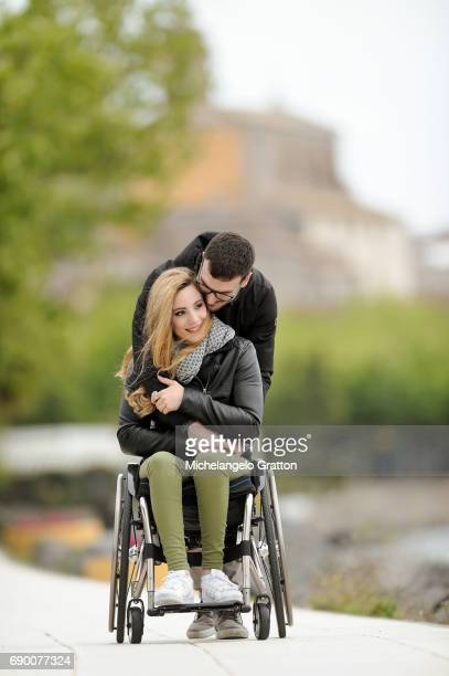 Normal and disabled people couple