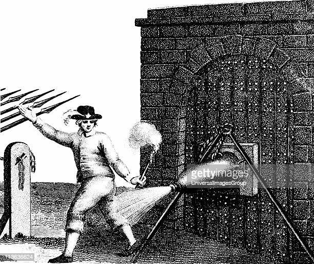 Normal method of applying a petard to the gate of a fortress. The fuse has just been lit and the Fusilier is retreating quickly in order not to be...