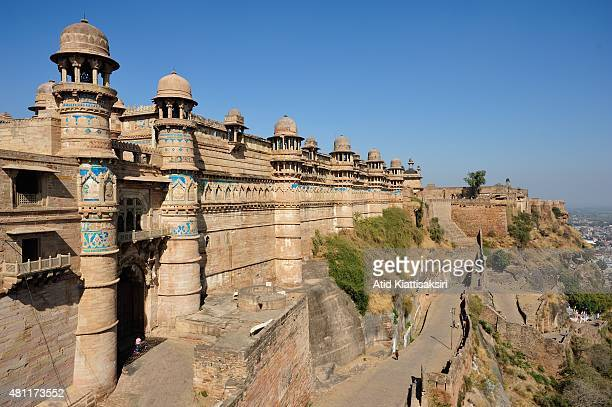 A normal scene of the Maan Mandir Palace in Gwalior Fort built by Man Singh Tomar during the 15th century