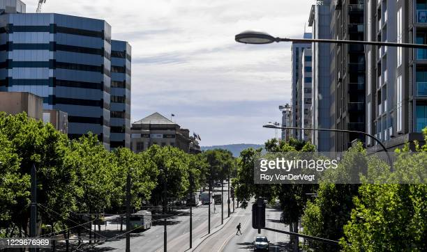 Normally busy streets are quiet on November 19, 2020 in Adelaide, Australia. South Australian premier Steven Marshall has announced new lockdown...
