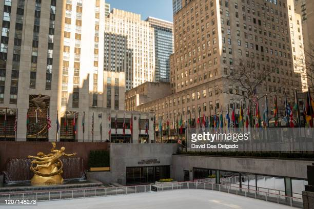 Normally very busy Rockefeller Center is nearly empty on March 12, 2020 in New York City. Many New Yorkers are heeding the advice of officials after...